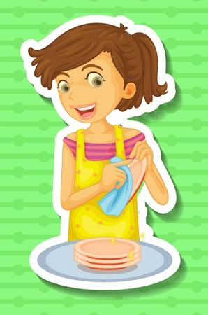 washing dishes: Woman doing dishes on green background