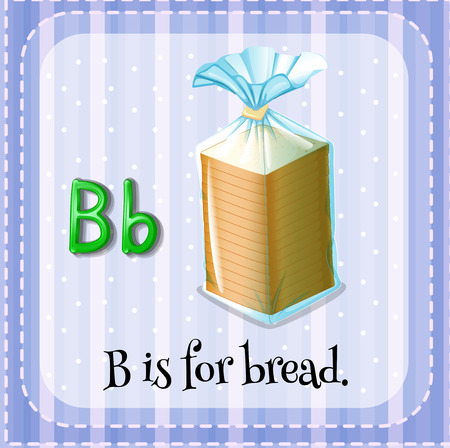 phonetic: Flashcard letter B is for bread