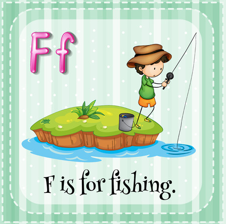 phonetic: Flashcard letter F is for fishing Illustration