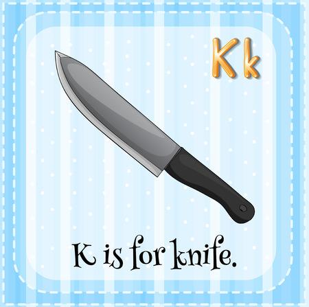 phonetic: Flashcard letter K is for knife