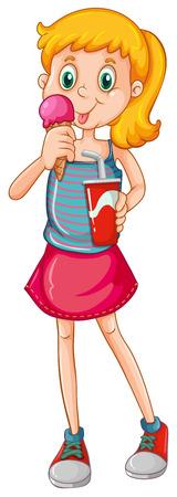drinking soda: Closeup girl eating icecream and drinking soda Illustration