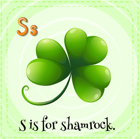 patrick s: Flashcard letter S is for shamrock Illustration