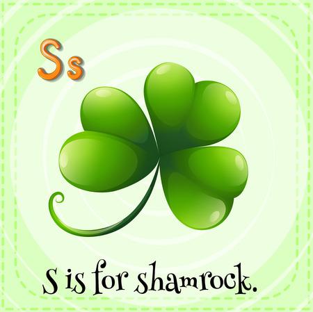 children s: Flashcard letter S is for shamrock Illustration