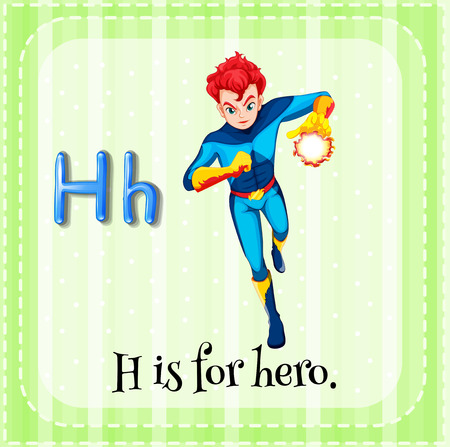 linguistic: Flashcard letter H is for hero