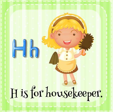 housekeeper: Flashcard letter H is for housekeeper Illustration