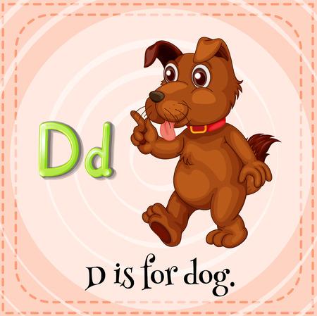 phonetic: Flashcard letter D is for dog Illustration