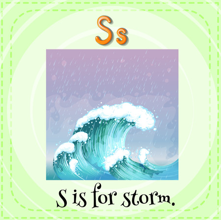 linguistic: Flashcard letter S is for storm Illustration