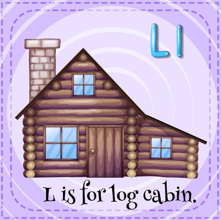 log cabin: Flashcard letter L is for log cabin