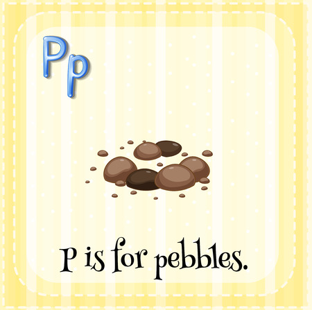 phonetic: Flashcard letter P is for pebbles Illustration