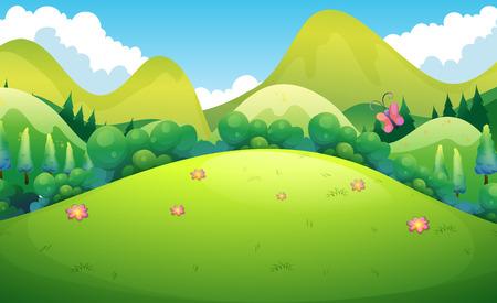 arboles de caricatura: Campo verde con las colinas y los árboles en la parte trasera
