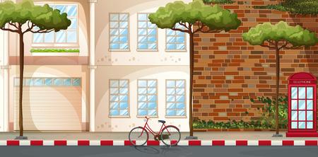 Scene of buildings along the street Stock Vector - 40330809