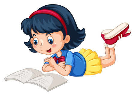 cartoon school girl: Closeup happy girl reading book alone