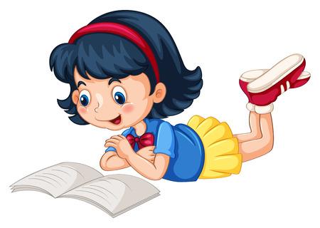 Leesboek Close-up gelukkig meisje alleen Stock Illustratie