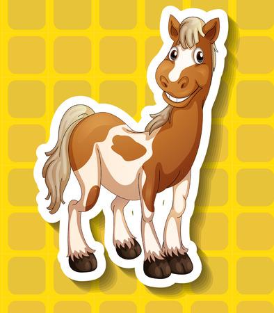 closeup: Nahaufnahme Pferd auf gelben Quadrate Hintergrund Illustration