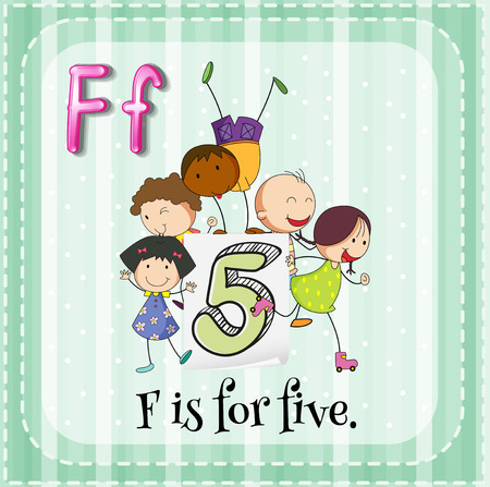 phonetic: Flashcard letter F is for five Illustration