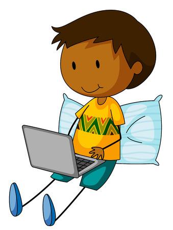 stick children: Closeup boy working on a laptop computer