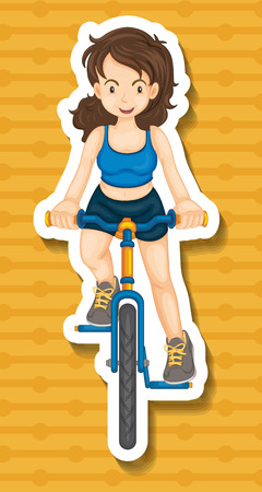 closeup: Closeup girl riding bicycle on yellow background