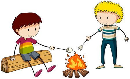 stick children: Two boys burning marshmellow at the campfire Illustration