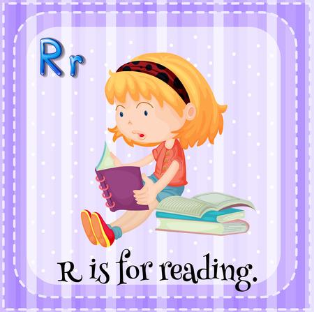 r: Flashcard letter R is for reading Illustration