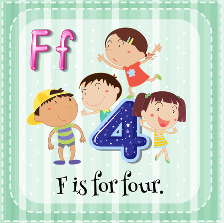flash card: Flashcard letter F is for four Illustration