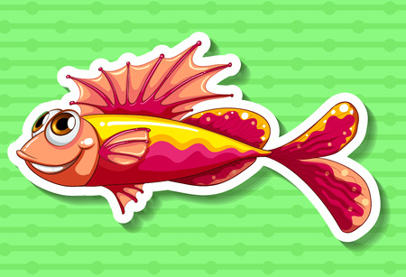 closeup: Closeup fancy fish on green background Illustration