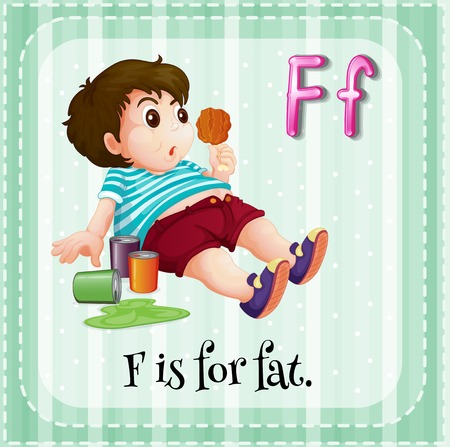 chubby: Flashcard letter F is for fat