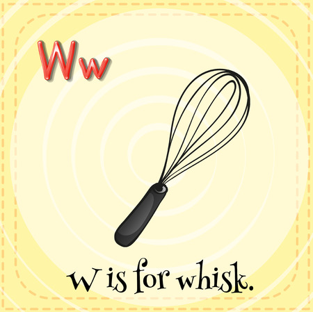 whisk: Flashcard letter W is for whisk