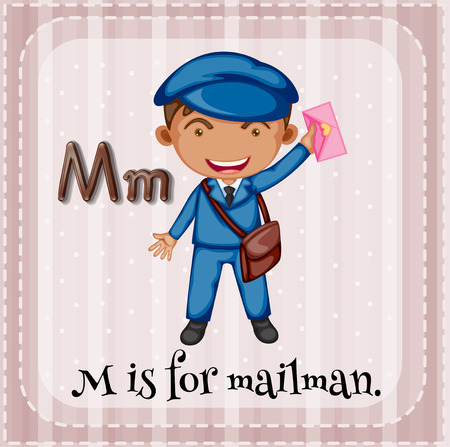 alphabet letters: Flashcard letter M is for mailman