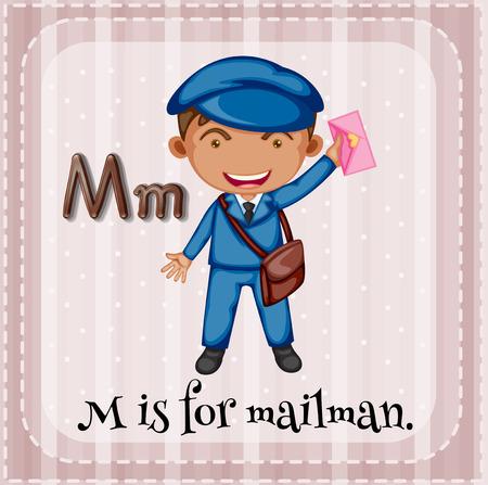 lettres alphabet: Flashcard lettre M est pour Mailman