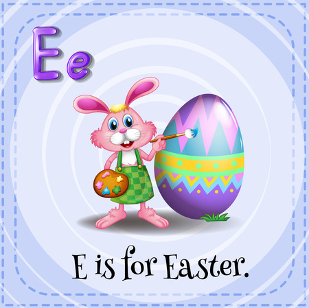 phonetic: Flashcard letter E is for easter
