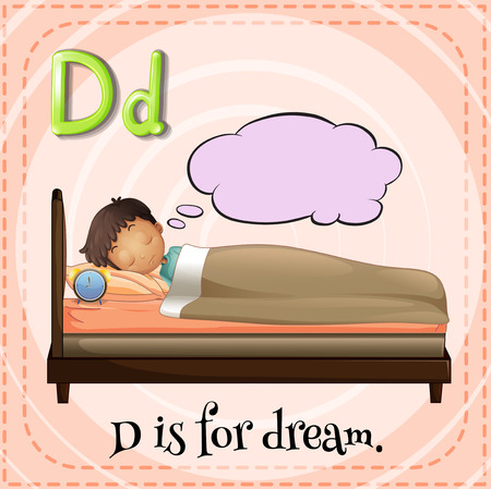 cartoon bed: Flashcard letter D is for dream Illustration
