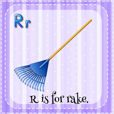 lettres alphabet: Flashcard lettre R est pour r�teau