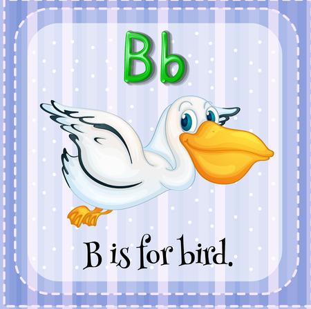 lettres alphabet: Flashcard lettre B est pour oiseaux Illustration