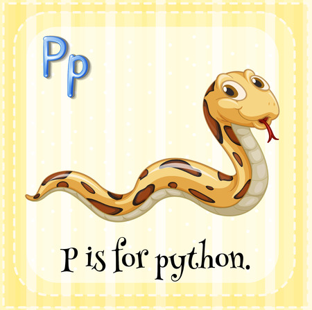 alphabet letters: Flashcard letter P is for python