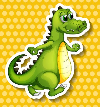closeup: Closeup crocodile standing on yellow polkadot background