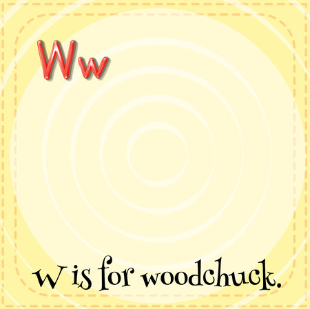 phonetic: Flashcard letter W is for woodchuck