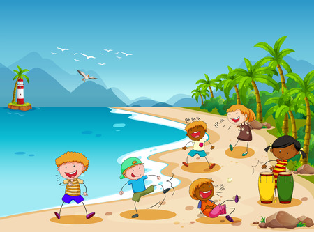 playing instrument: Children playing and laughing on the beach Illustration