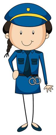 closeup: Closeup Polizistin in Uniform tr�gt eine Handschelle Illustration