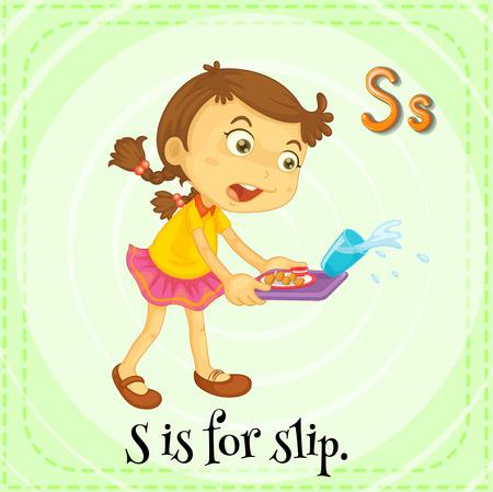 phonetic: Flashcard letter S is for slip