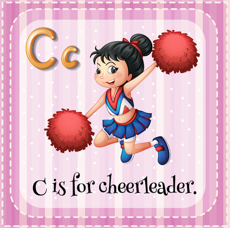 phonetic: Flashcard letter C is for cheerleader