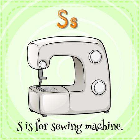 coser: Flashcard letra S es para la máquina de coser Vectores