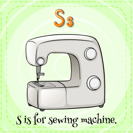 phonetic: Flashcard letter S is for sewing machine