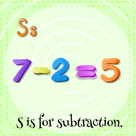 letter alphabet pictures: Flashcard letter S is for subtraction