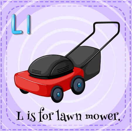 mower: Flashcard letter L is for lawnmower