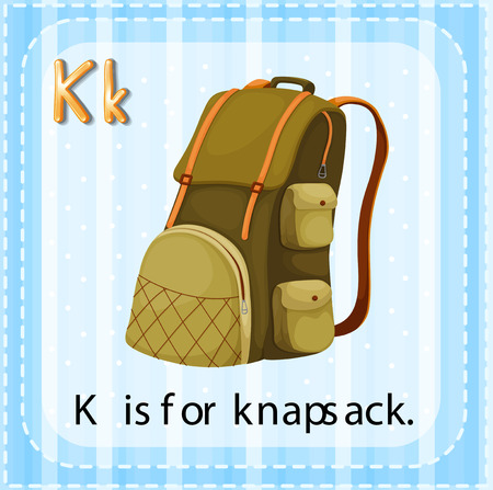 phonetic: Flashcard letter K is for knapsack