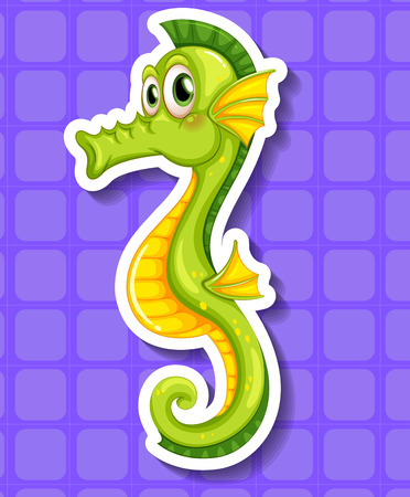 closeup: Closeup happy seahorse on purple background