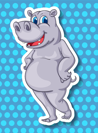 closeup: Closeup cute hippo standing on blue background Illustration