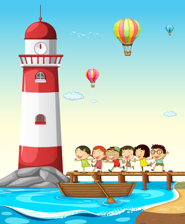 rowboat: Children running on the bridge