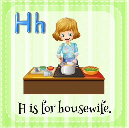 linguistic: Flashcard letter H is for housewife