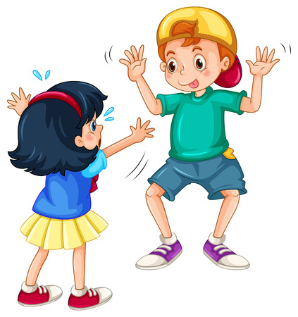 teasing: Silly boy teasing a little girl